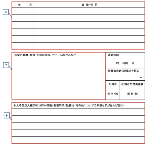 履歴書の資格情報と志望動機欄